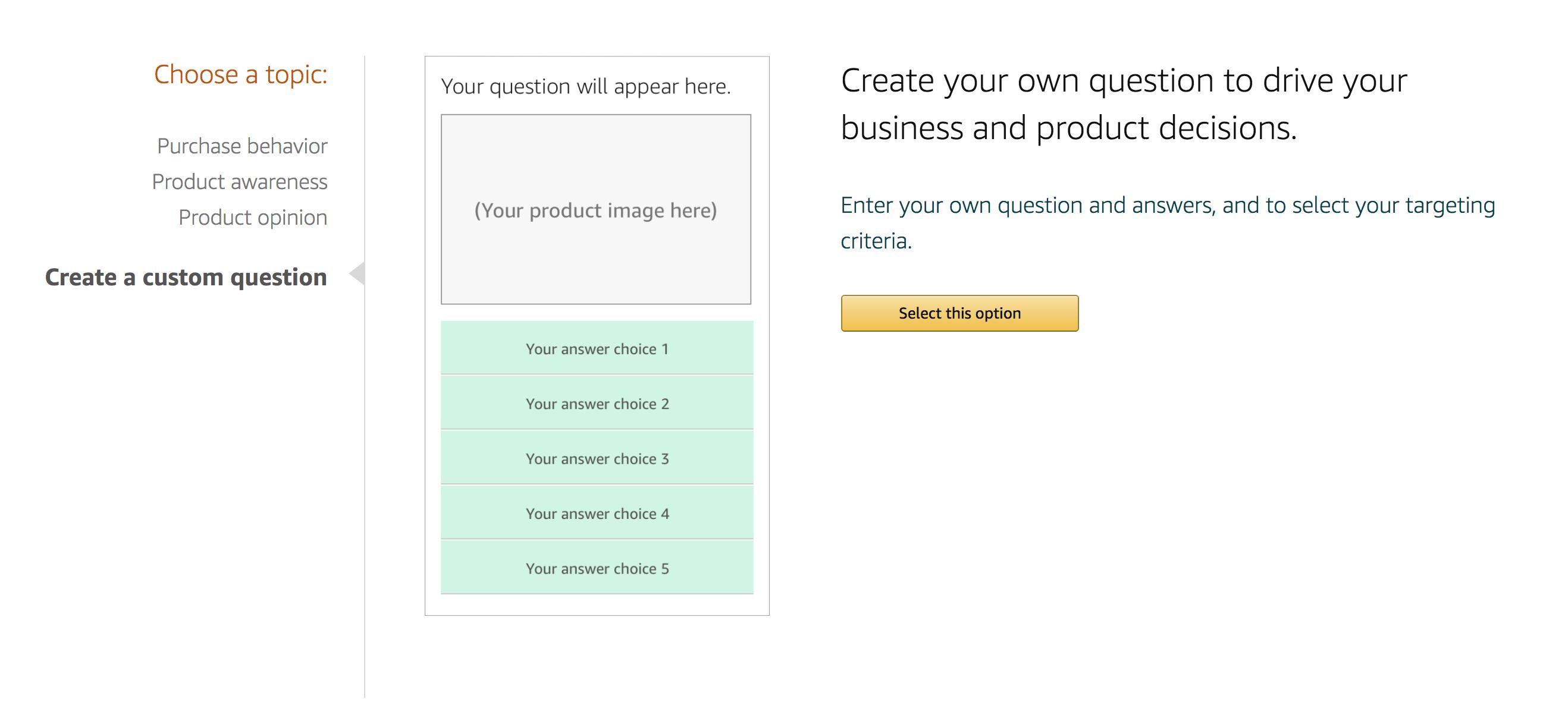 amazon create custom question sellerprime