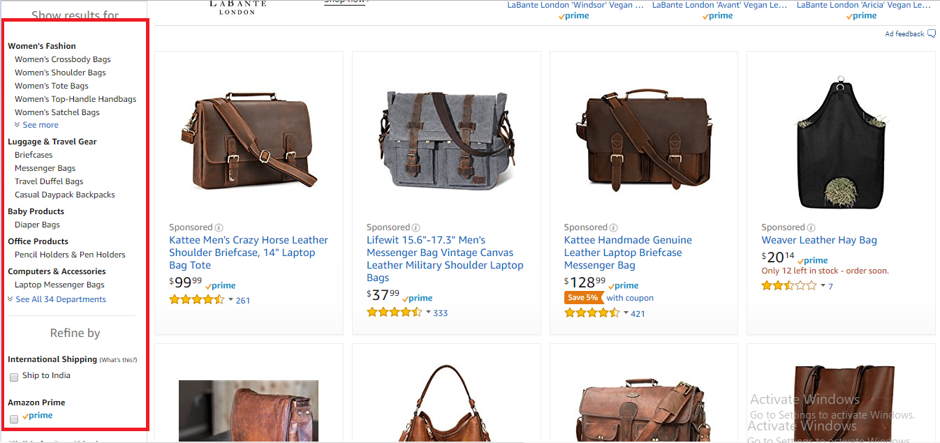 Amazon Product Page Filters