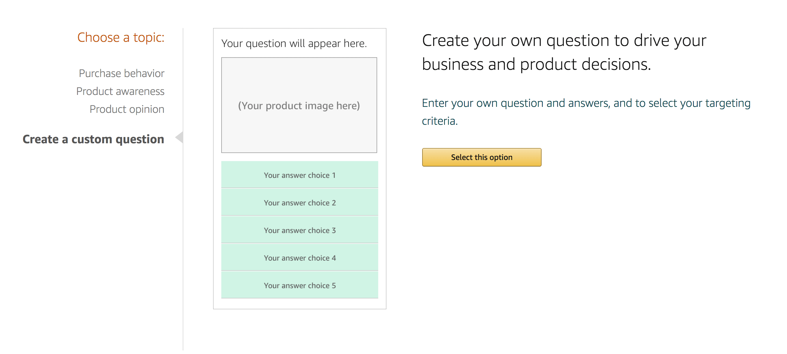 amazon create custom question sellerprime