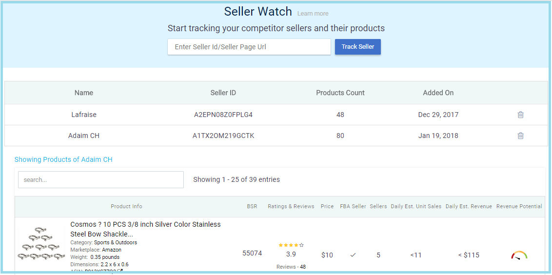 amazon seller watch to track competitors