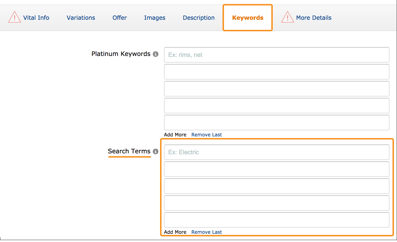 Seller central keyword search term section