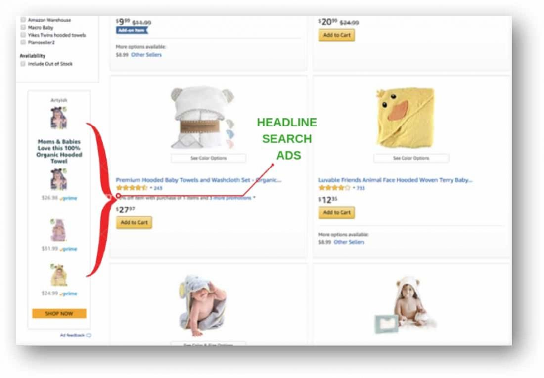 second type of placements for amazon headline ads