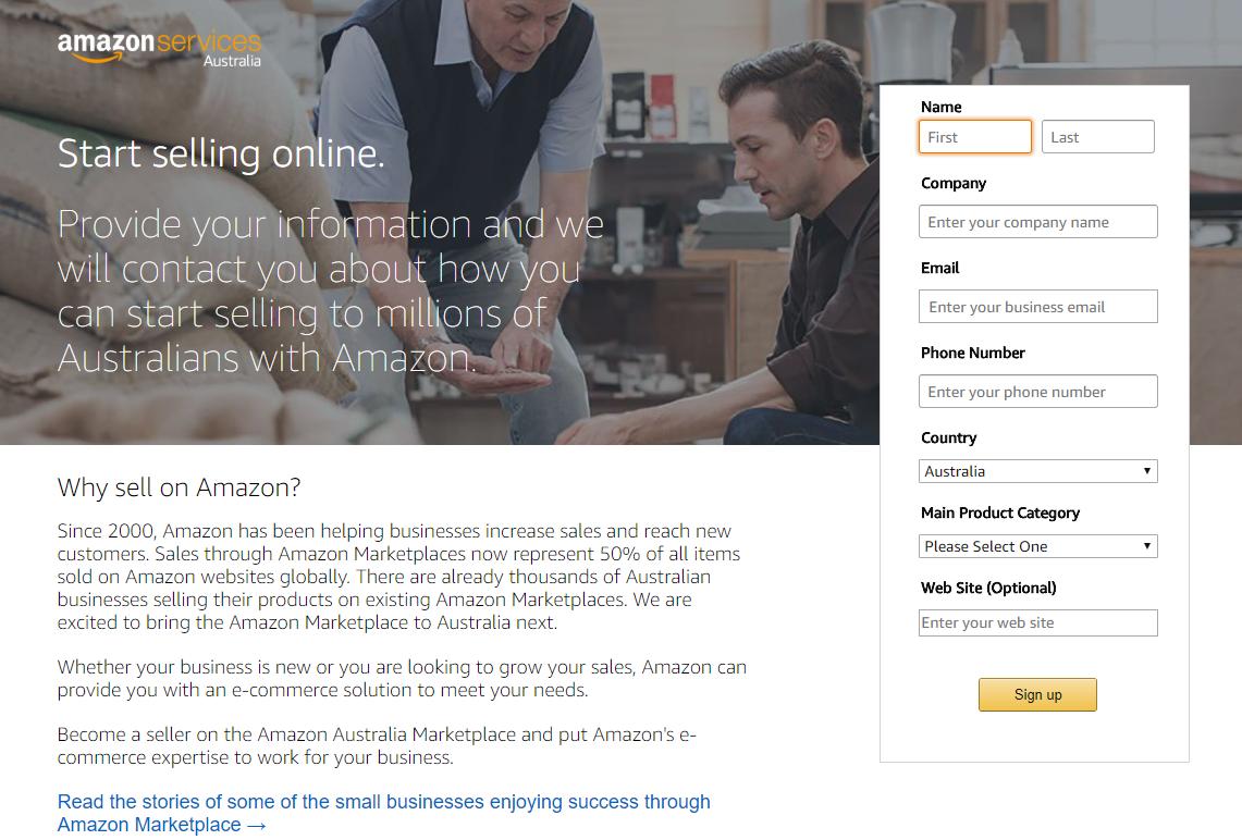 Amazon Australia Start Selling