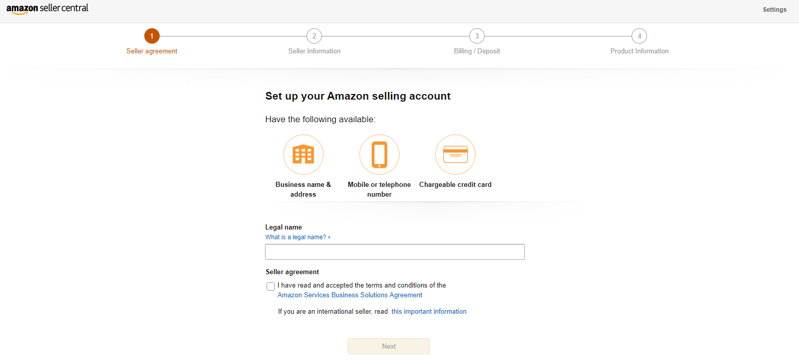 Register Amazon Seller Agreement for australia