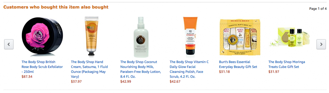 example of amazon product list