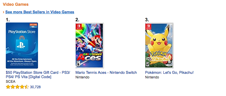 video games selling products on amazon