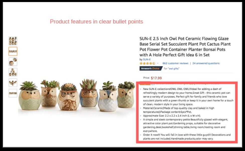 amazon product bullet points