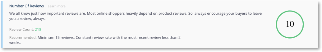 number of reviews