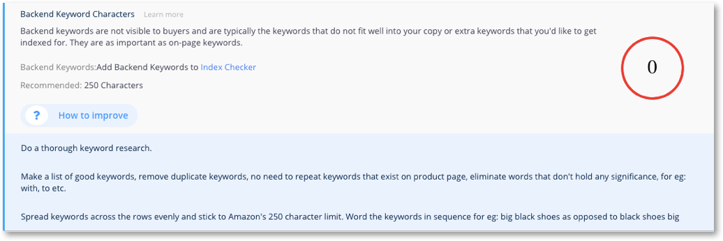 product backend keywords