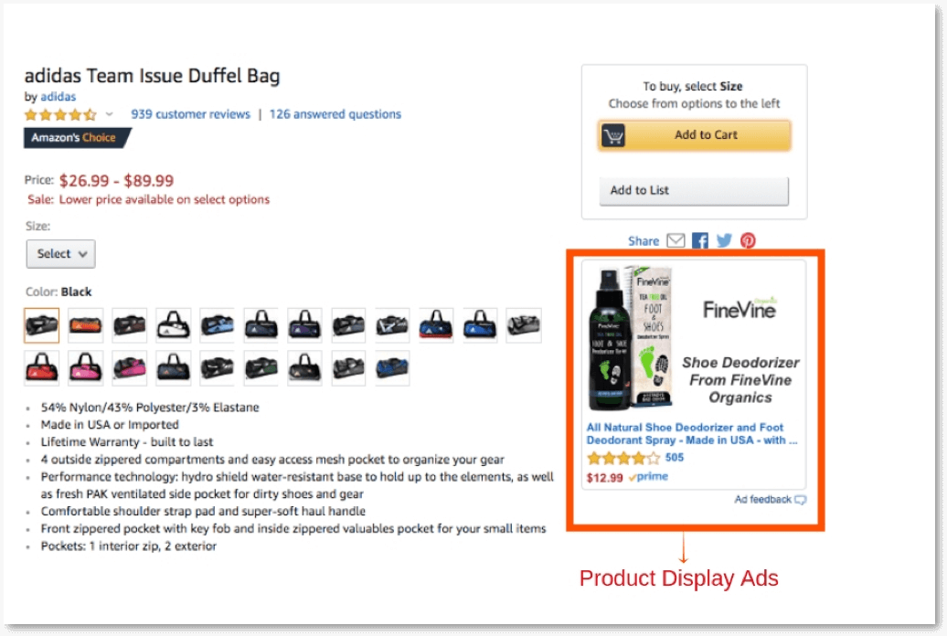 example of amazon product display ads