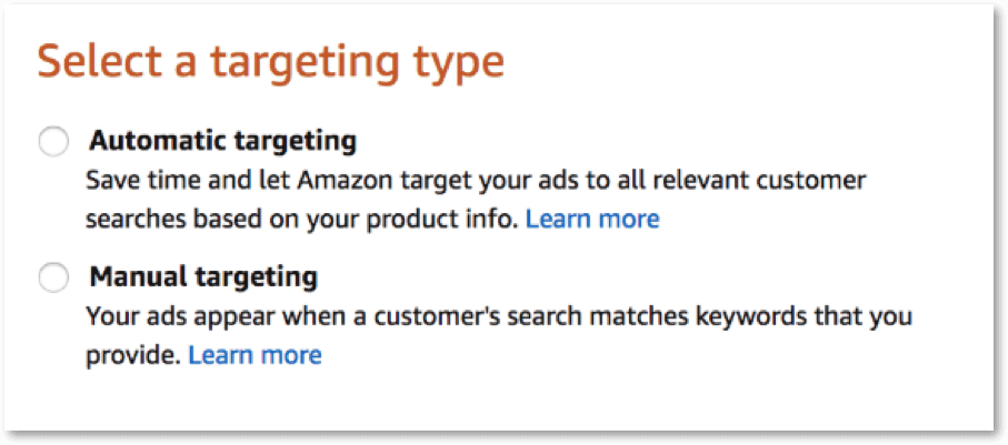 amazon ads targeting type