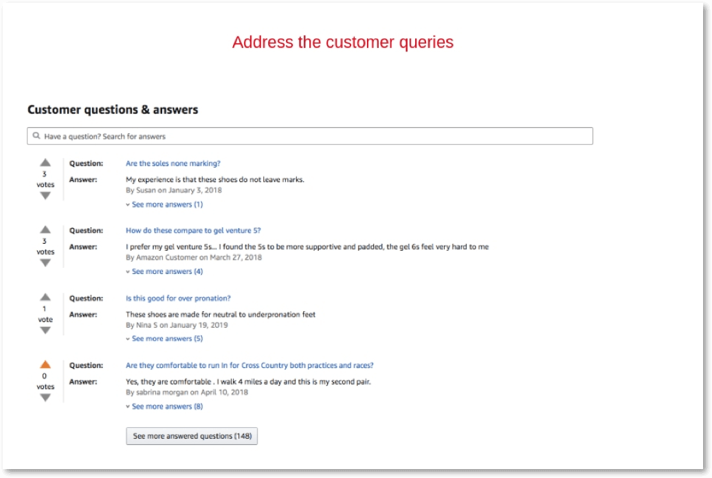 address the customer queries