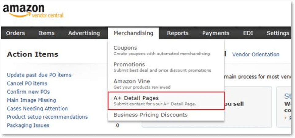 amazon vendor a+ content options