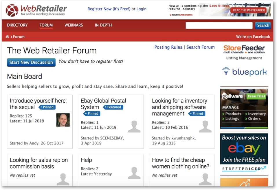 web retailer seller forum