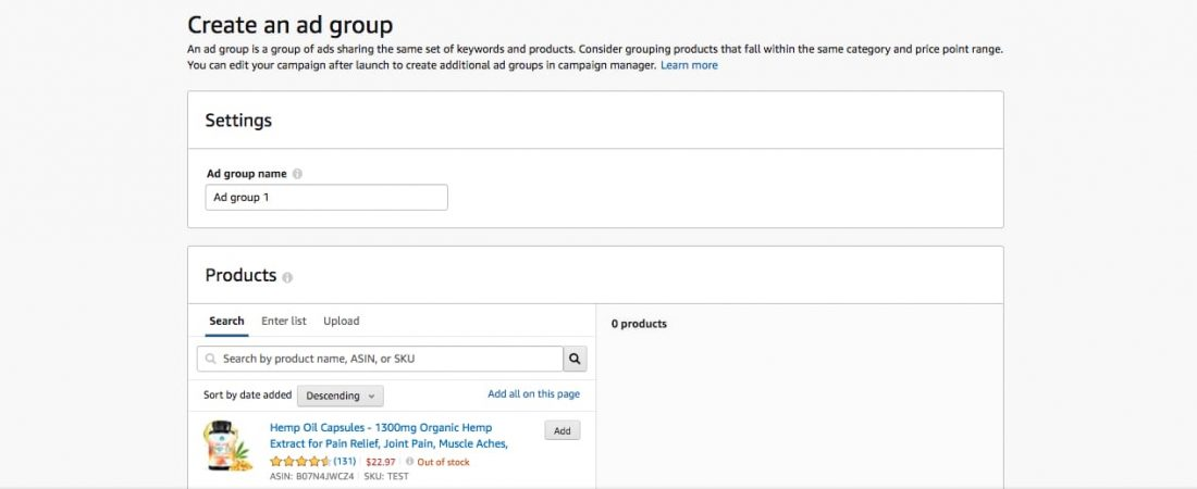 creating adgroup for amazon sponsored product ads