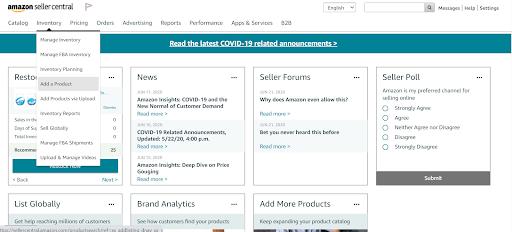 amazon inventory adding product