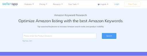Amazon keyword research tool - sellerapp