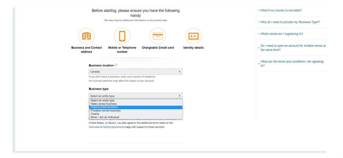 How to sign up for the Amazon.ca seller account