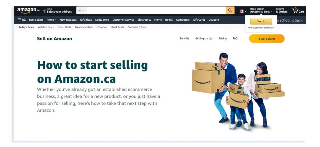 how to start selling on amazon.ca