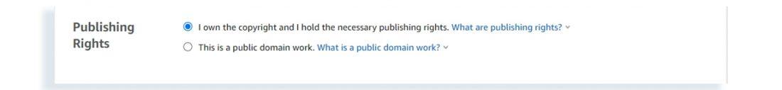 amazon kindle publishing rights