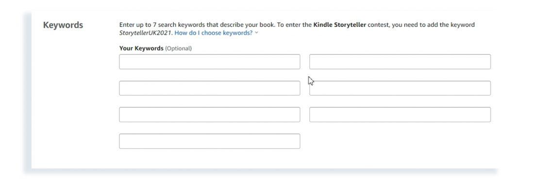 add keywords on amazon kdp