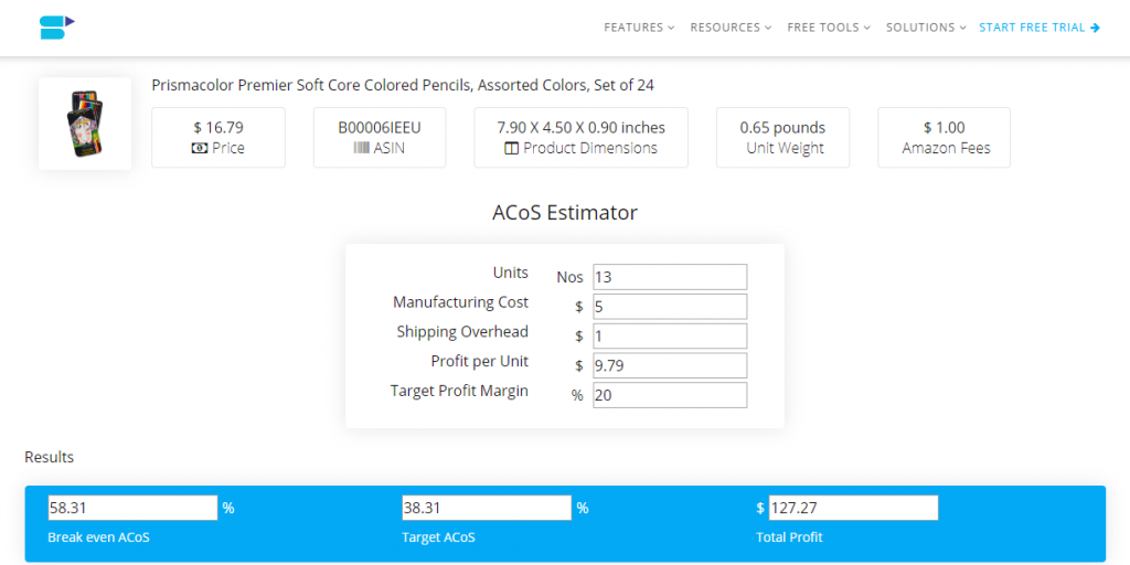 Amazon Acos Calculator