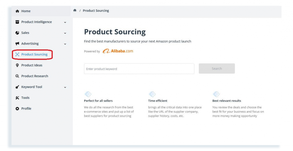 Product sourcing tool SellerApp dashboard