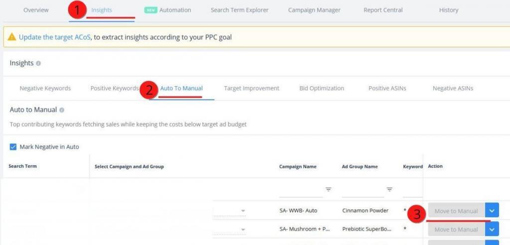 Keyword harvesting on the SellerApp dashboard
